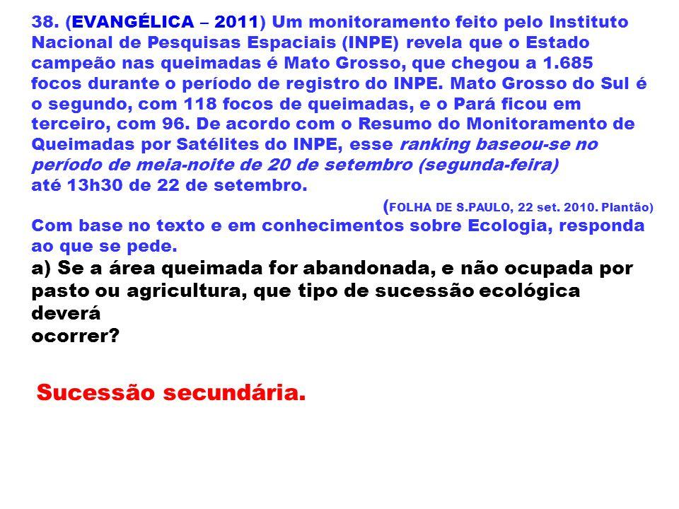 38. (EVANGÉLICA – 2011) Um monitoramento feito pelo Instituto Nacional de Pesquisas Espaciais (INPE) revela que o Estado campeão nas queimadas é Mato Grosso, que chegou a 1.685