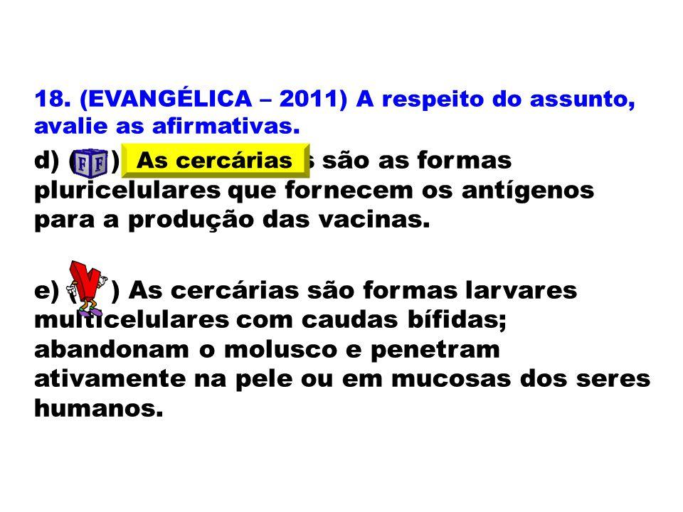 18. (EVANGÉLICA – 2011) A respeito do assunto, avalie as afirmativas.