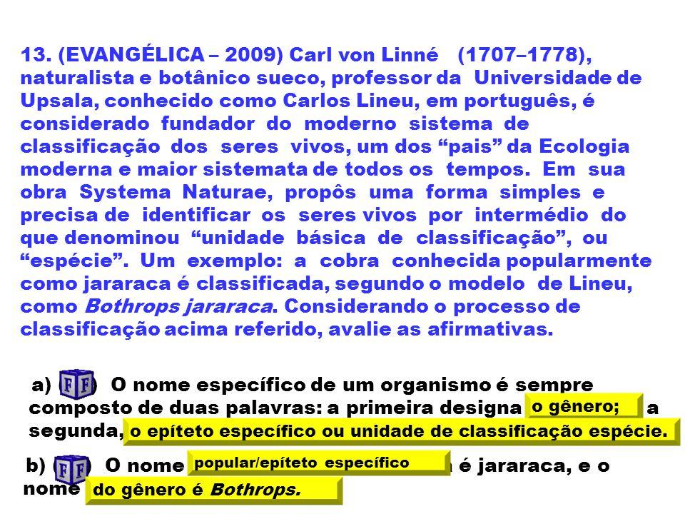 13. (EVANGÉLICA – 2009) Carl von Linné (1707–1778), naturalista e botânico sueco, professor da Universidade de Upsala, conhecido como Carlos Lineu, em português, é considerado fundador do moderno sistema de classificação dos seres vivos, um dos pais da Ecologia moderna e maior sistemata de todos os tempos. Em sua obra Systema Naturae, propôs uma forma simples e precisa de identificar os seres vivos por intermédio do que denominou unidade básica de classificação , ou espécie . Um exemplo: a cobra conhecida popularmente como jararaca é classificada, segundo o modelo de Lineu, como Bothrops jararaca. Considerando o processo de classificação acima referido, avalie as afirmativas.