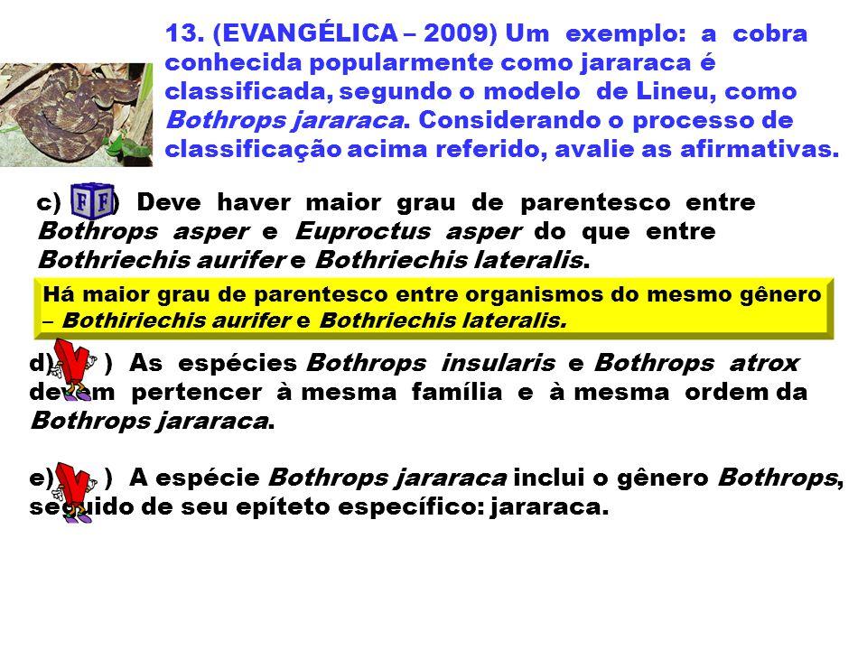13. (EVANGÉLICA – 2009) Um exemplo: a cobra conhecida popularmente como jararaca é classificada, segundo o modelo de Lineu, como Bothrops jararaca. Considerando o processo de classificação acima referido, avalie as afirmativas.