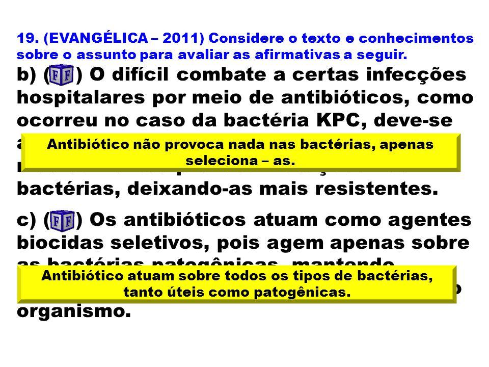 Antibiótico não provoca nada nas bactérias, apenas seleciona – as.