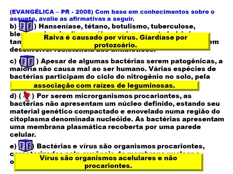 Raiva é causado por vírus. Giardíase por protozoário.