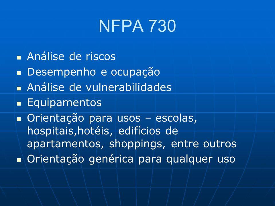 NFPA 730 Análise de riscos Desempenho e ocupação