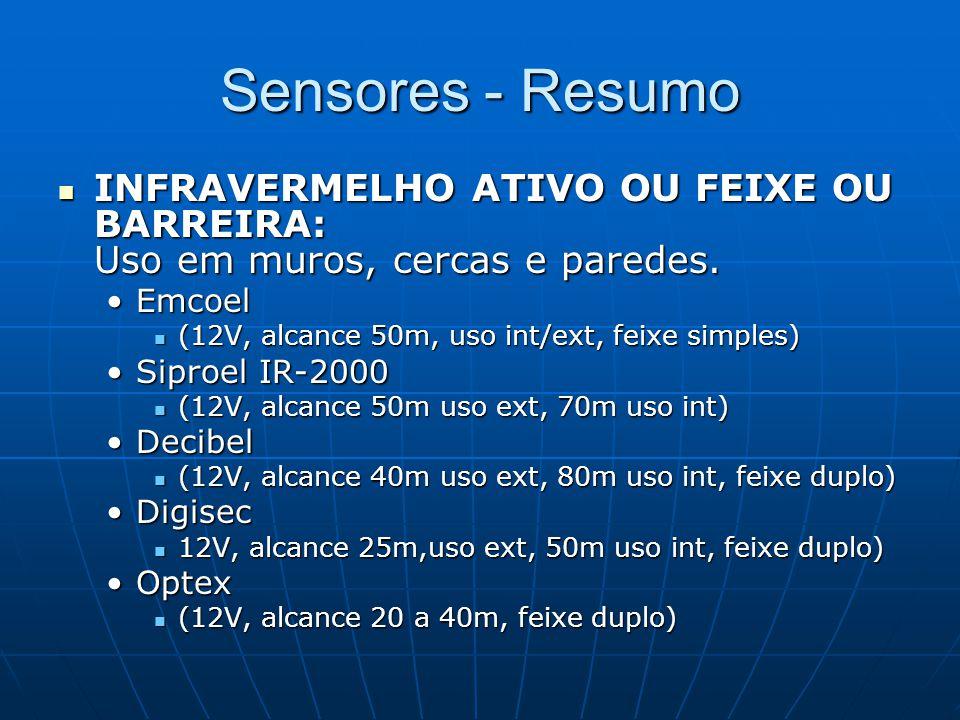Sensores - Resumo INFRAVERMELHO ATIVO OU FEIXE OU BARREIRA: Uso em muros, cercas e paredes. Emcoel.