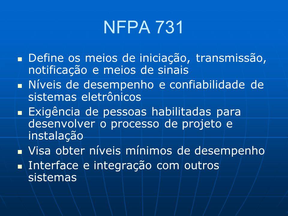 NFPA 731 Define os meios de iniciação, transmissão, notificação e meios de sinais. Níveis de desempenho e confiabilidade de sistemas eletrônicos.