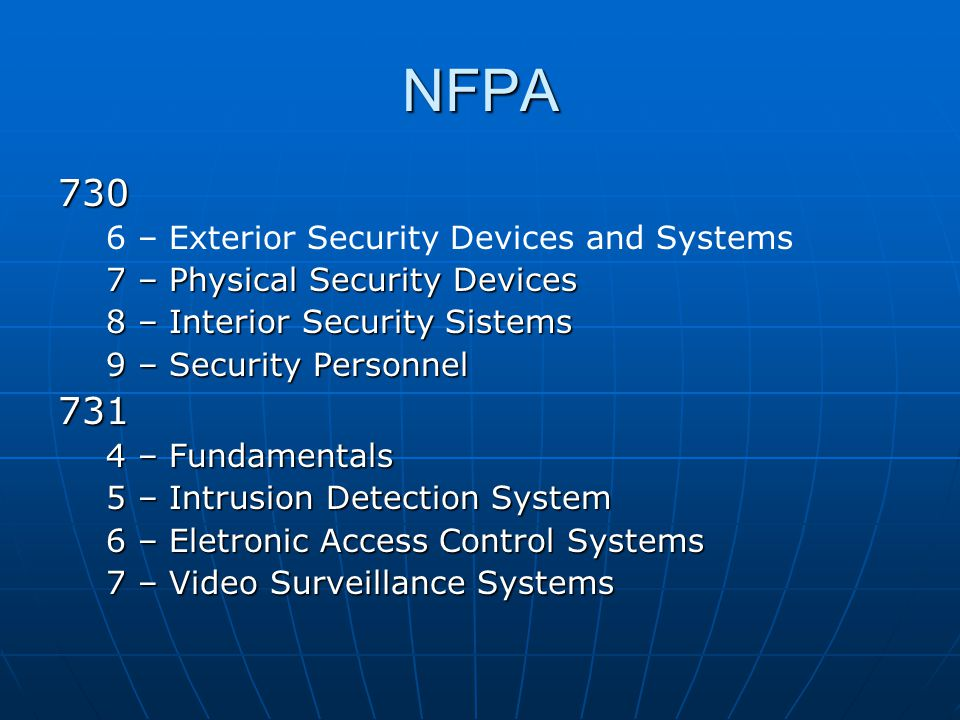 NFPA 730 731 6 – Exterior Security Devices and Systems