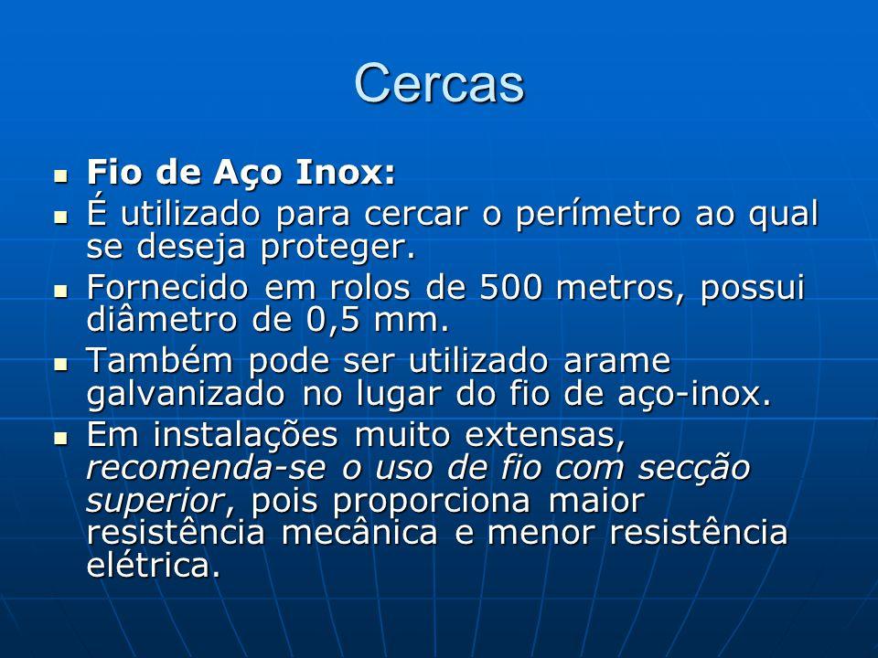 Cercas Fio de Aço Inox: É utilizado para cercar o perímetro ao qual se deseja proteger.