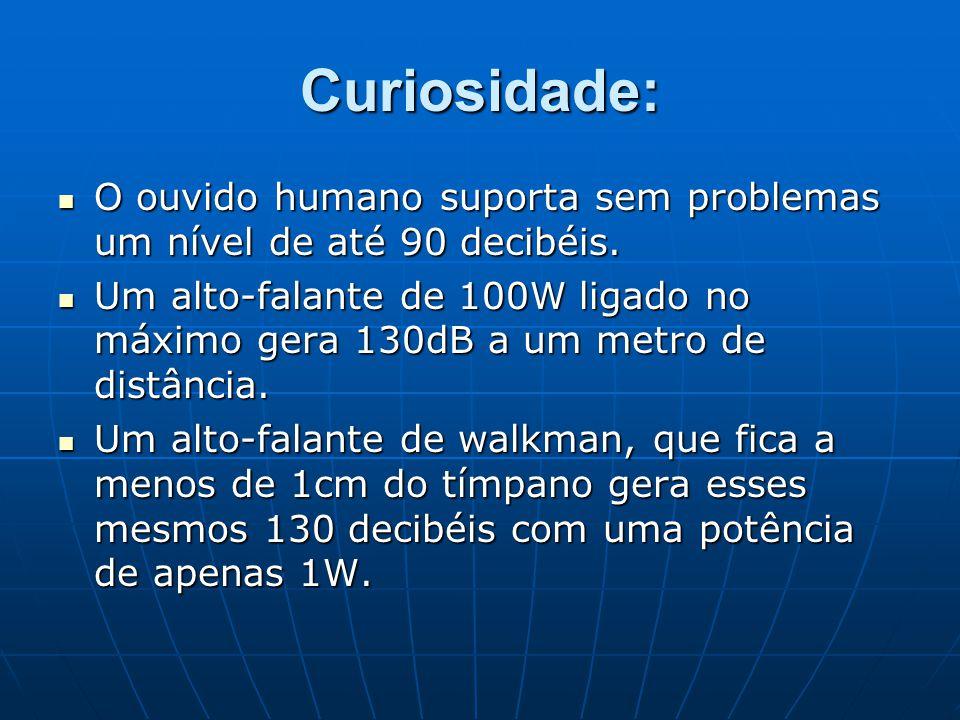 Curiosidade: O ouvido humano suporta sem problemas um nível de até 90 decibéis.