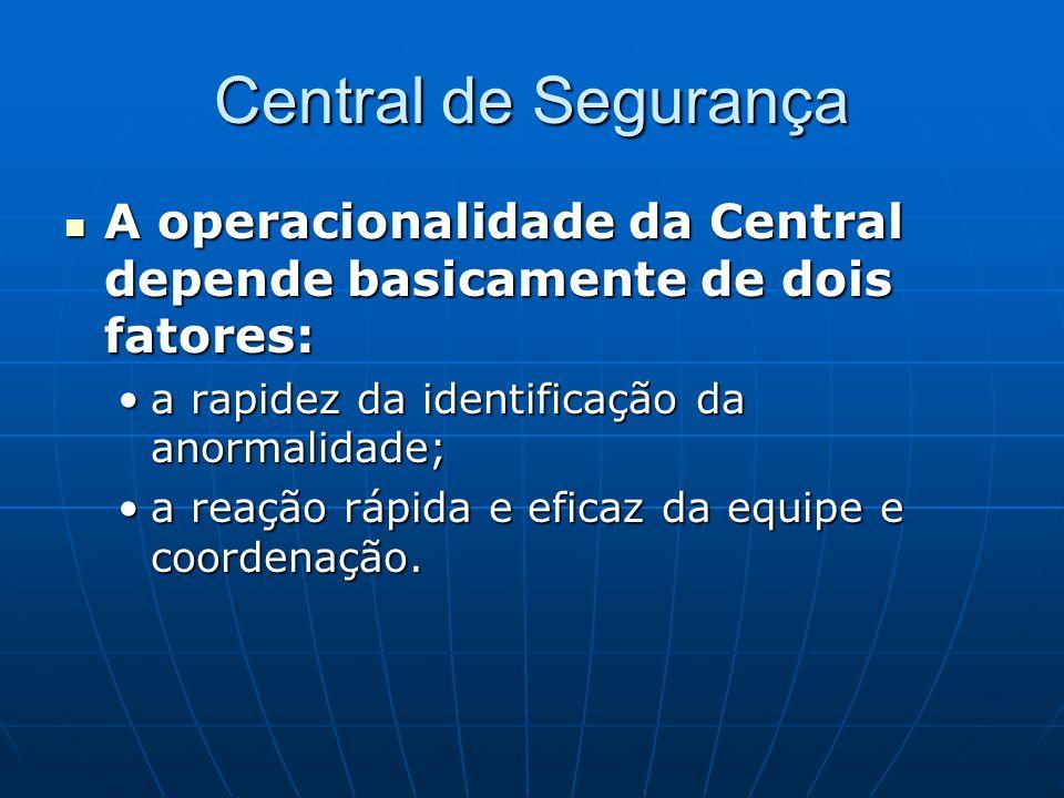 Central de Segurança A operacionalidade da Central depende basicamente de dois fatores: a rapidez da identificação da anormalidade;