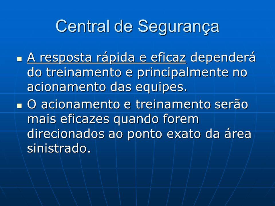 Central de Segurança A resposta rápida e eficaz dependerá do treinamento e principalmente no acionamento das equipes.