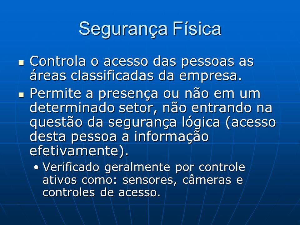 Segurança Física Controla o acesso das pessoas as áreas classificadas da empresa.