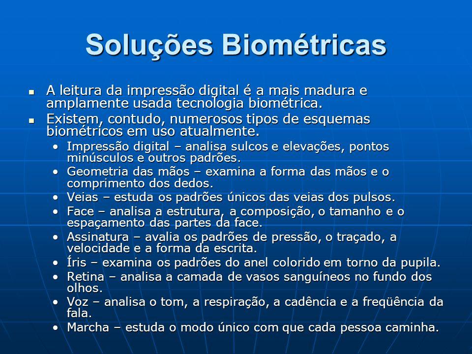 Soluções Biométricas A leitura da impressão digital é a mais madura e amplamente usada tecnologia biométrica.