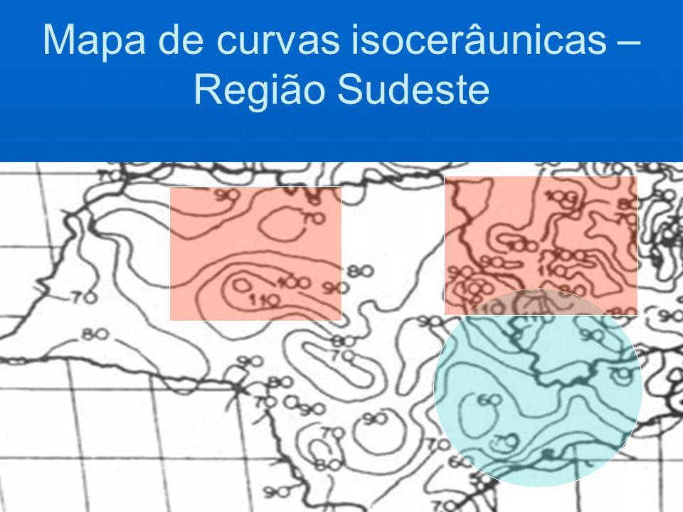 Mapa de curvas isocerâunicas – Região Sudeste