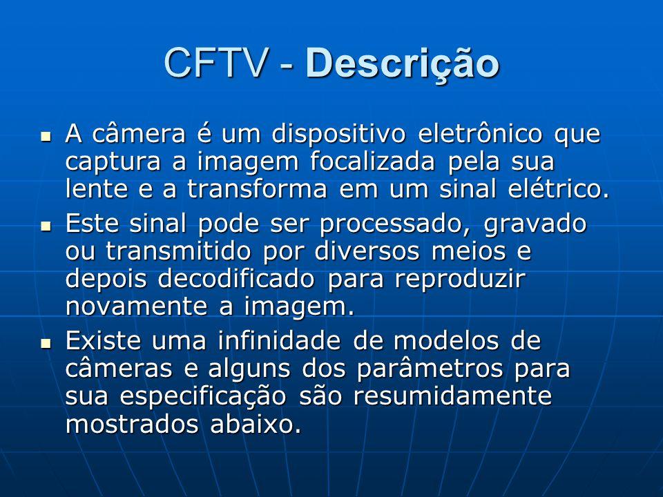 CFTV - Descrição A câmera é um dispositivo eletrônico que captura a imagem focalizada pela sua lente e a transforma em um sinal elétrico.