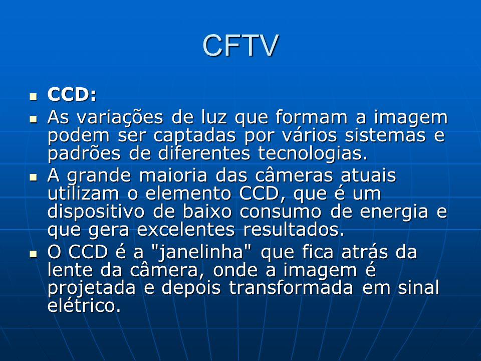 CFTV CCD: As variações de luz que formam a imagem podem ser captadas por vários sistemas e padrões de diferentes tecnologias.