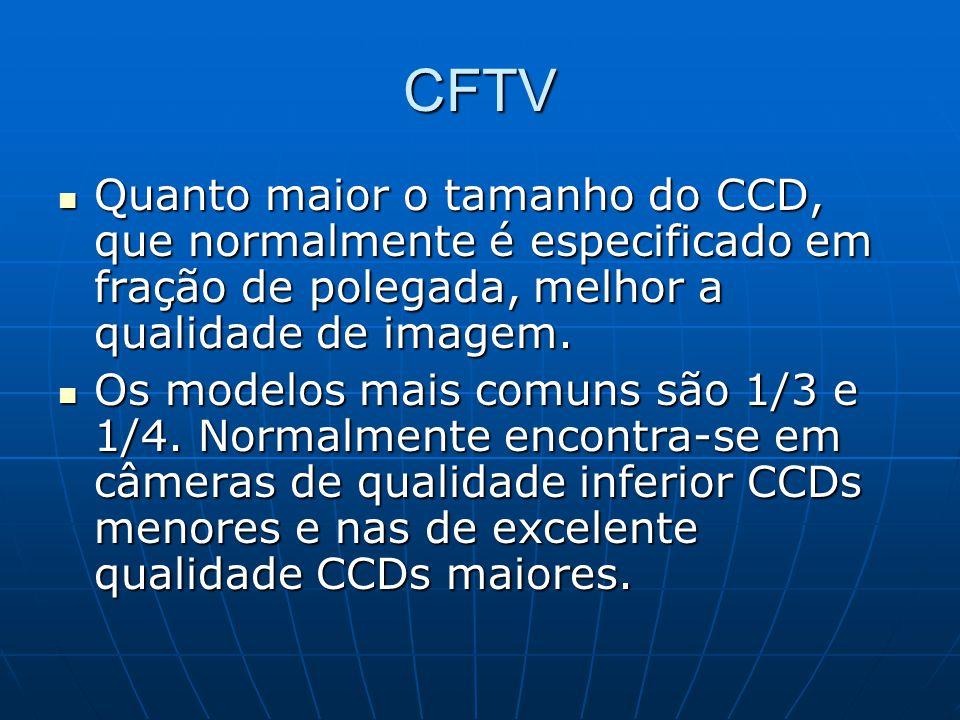 CFTV Quanto maior o tamanho do CCD, que normalmente é especificado em fração de polegada, melhor a qualidade de imagem.
