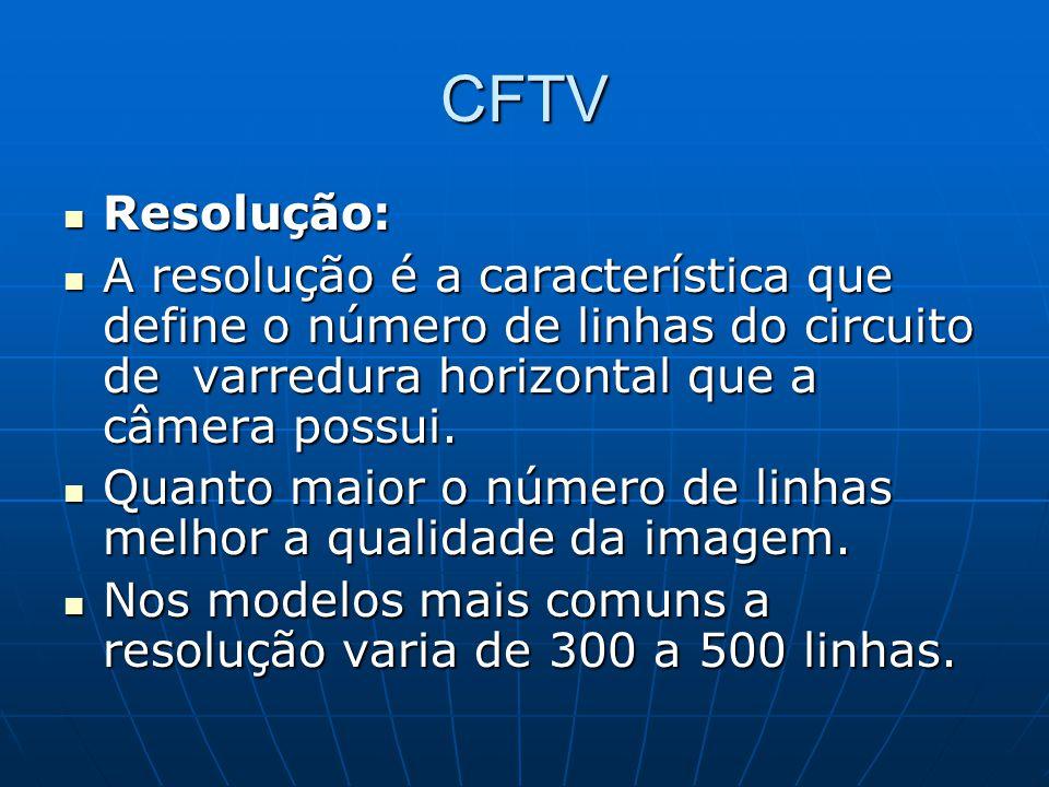 CFTV Resolução: A resolução é a característica que define o número de linhas do circuito de varredura horizontal que a câmera possui.