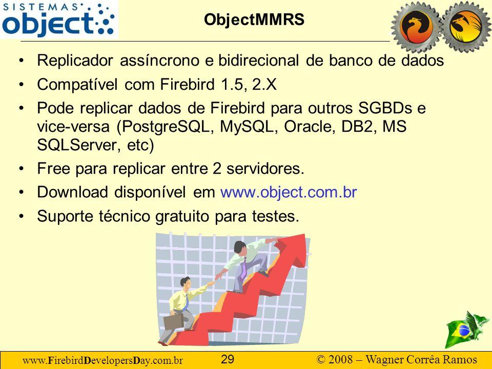 ObjectMMRS Replicador assíncrono e bidirecional de banco de dados. Compatível com Firebird 1.5, 2.X.