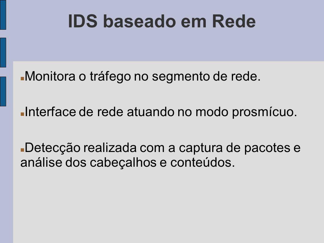 IDS baseado em Rede Monitora o tráfego no segmento de rede.