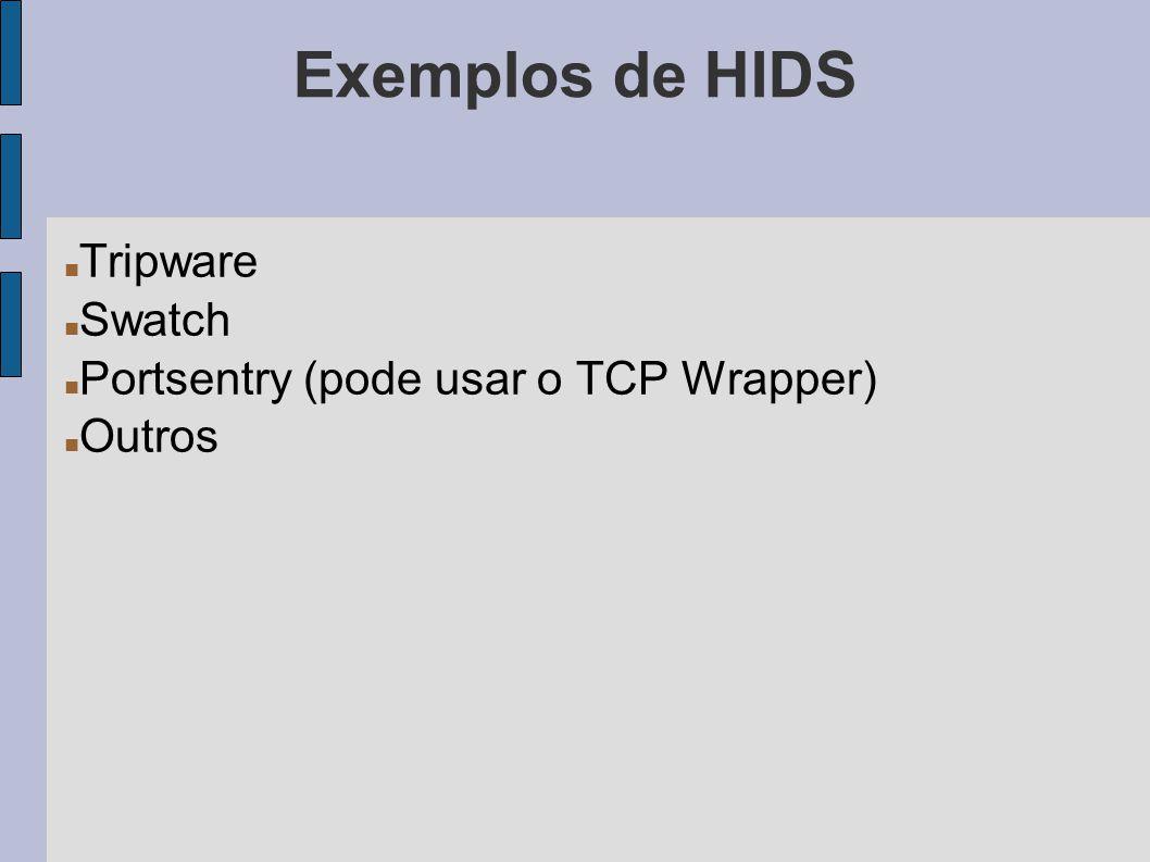 Exemplos de HIDS Tripware Swatch Portsentry (pode usar o TCP Wrapper)