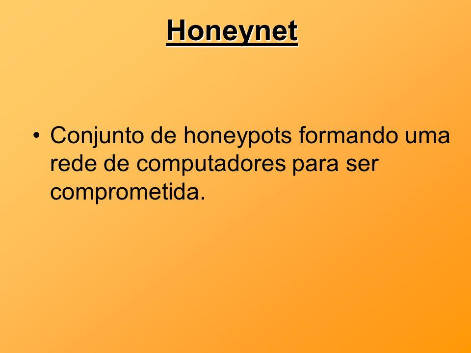 Honeynet Conjunto de honeypots formando uma rede de computadores para ser comprometida.