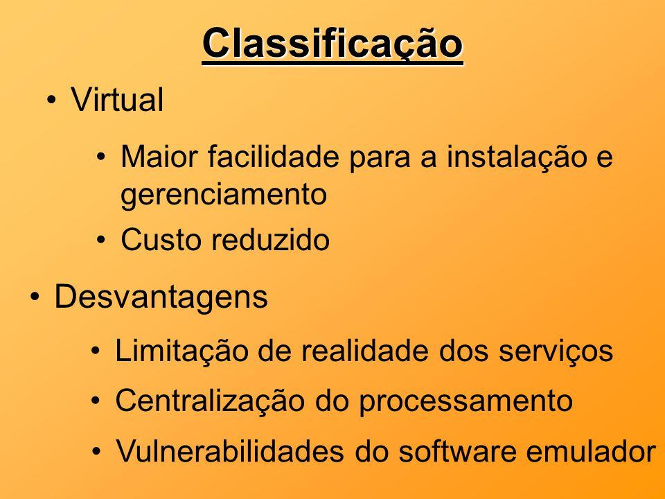 Classificação Virtual Desvantagens