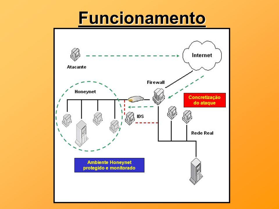 Concretização do ataque Ambiente Honeynet protegido e monitorado