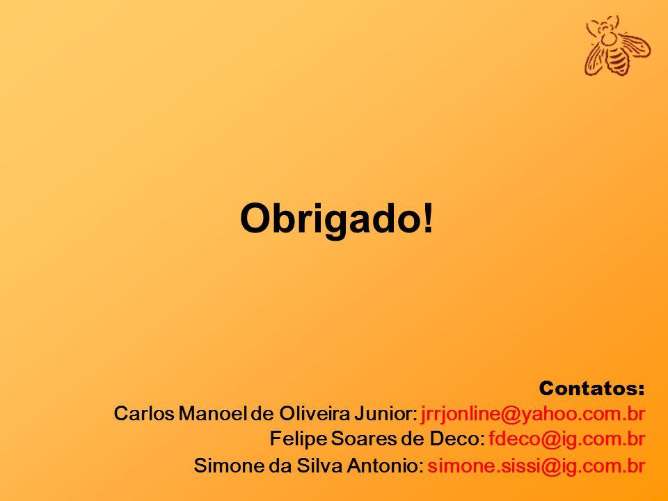 Obrigado! Contatos: Carlos Manoel de Oliveira Junior: jrrjonline@yahoo.com.br. Felipe Soares de Deco: fdeco@ig.com.br.