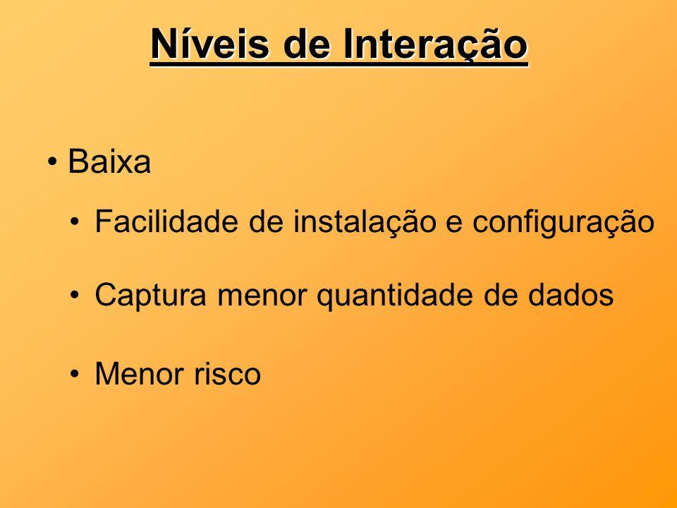 Níveis de Interação Baixa Facilidade de instalação e configuração