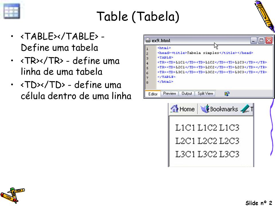 Table (Tabela) <TABLE></TABLE> - Define uma tabela