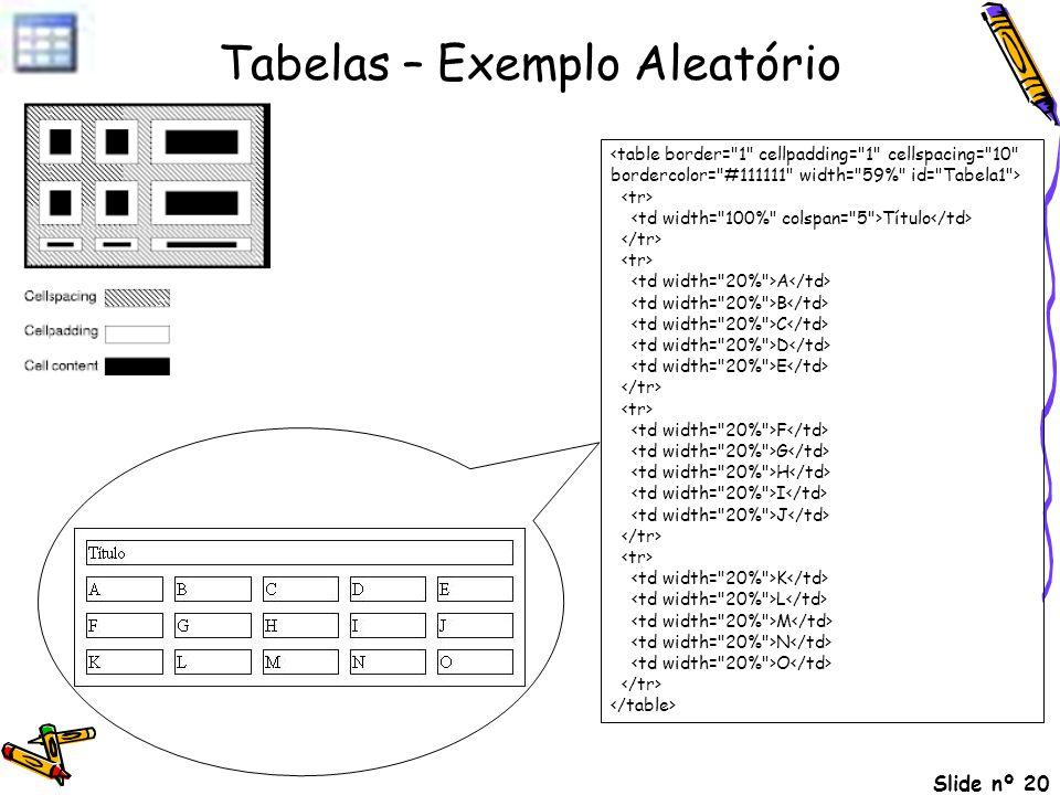 Tabelas – Exemplo Aleatório