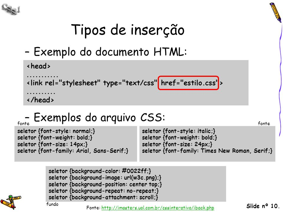 Tipos de inserção Exemplo do documento HTML: Exemplos do arquivo CSS: