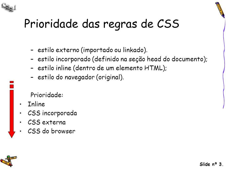 Prioridade das regras de CSS
