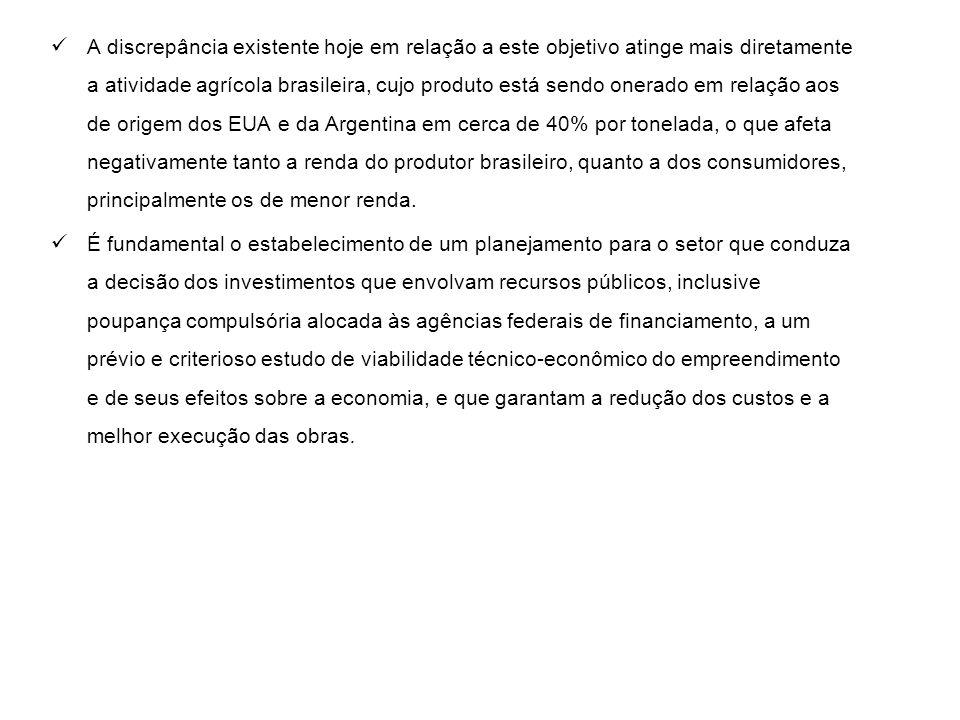 A discrepância existente hoje em relação a este objetivo atinge mais diretamente a atividade agrícola brasileira, cujo produto está sendo onerado em relação aos de origem dos EUA e da Argentina em cerca de 40% por tonelada, o que afeta negativamente tanto a renda do produtor brasileiro, quanto a dos consumidores, principalmente os de menor renda.