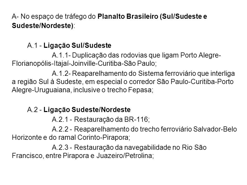 A- No espaço de tráfego do Planalto Brasileiro (Sul/Sudeste e Sudeste/Nordeste):