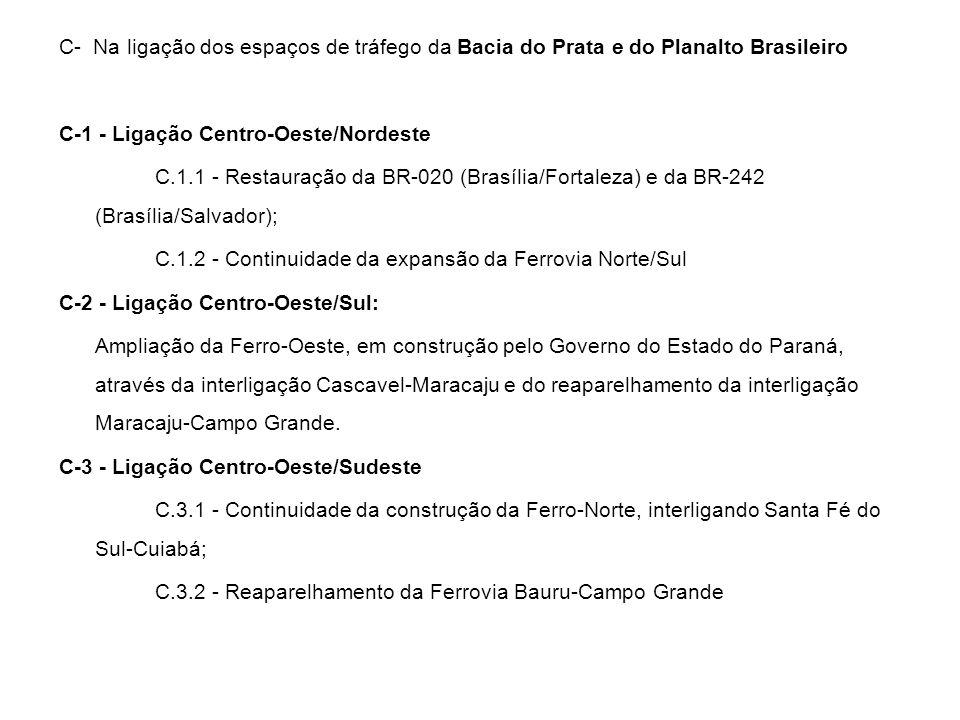 C- Na ligação dos espaços de tráfego da Bacia do Prata e do Planalto Brasileiro