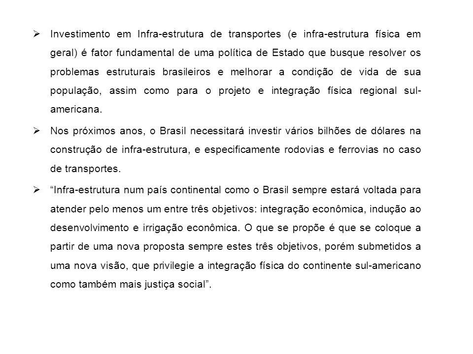 Investimento em Infra-estrutura de transportes (e infra-estrutura física em geral) é fator fundamental de uma política de Estado que busque resolver os problemas estruturais brasileiros e melhorar a condição de vida de sua população, assim como para o projeto e integração física regional sul-americana.