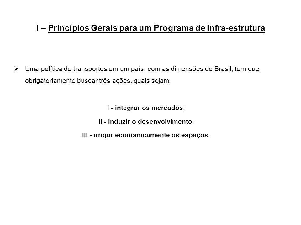 I – Princípios Gerais para um Programa de Infra-estrutura