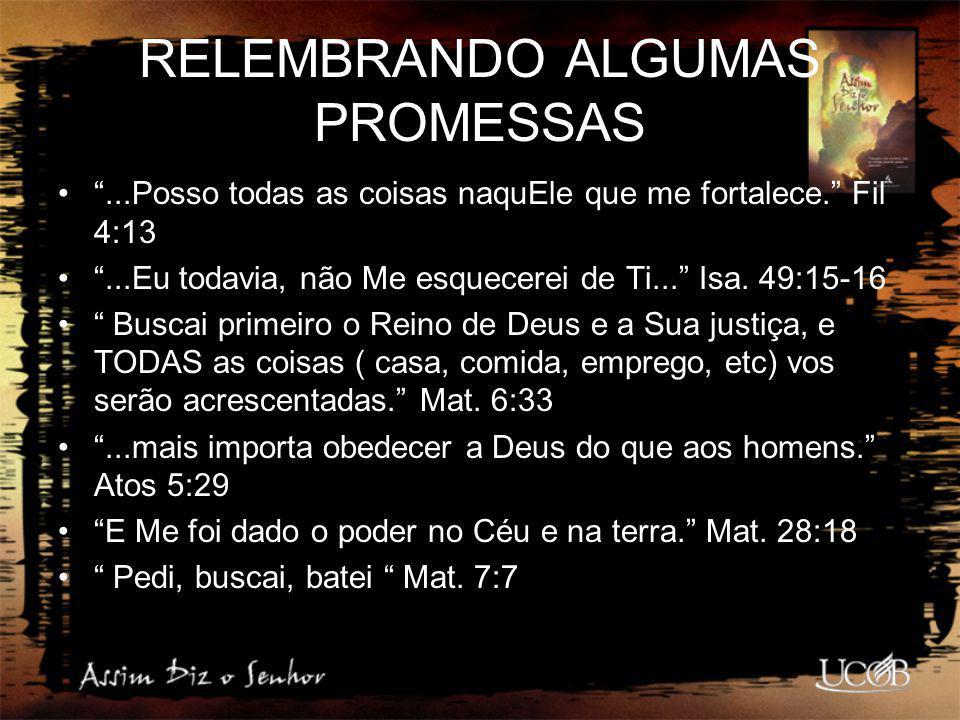RELEMBRANDO ALGUMAS PROMESSAS
