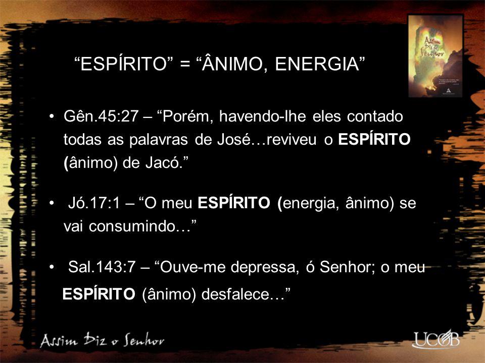 ESPÍRITO = ÂNIMO, ENERGIA