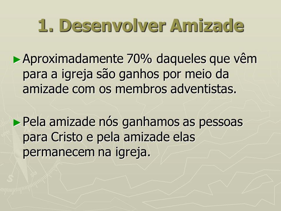 1. Desenvolver Amizade Aproximadamente 70% daqueles que vêm para a igreja são ganhos por meio da amizade com os membros adventistas.