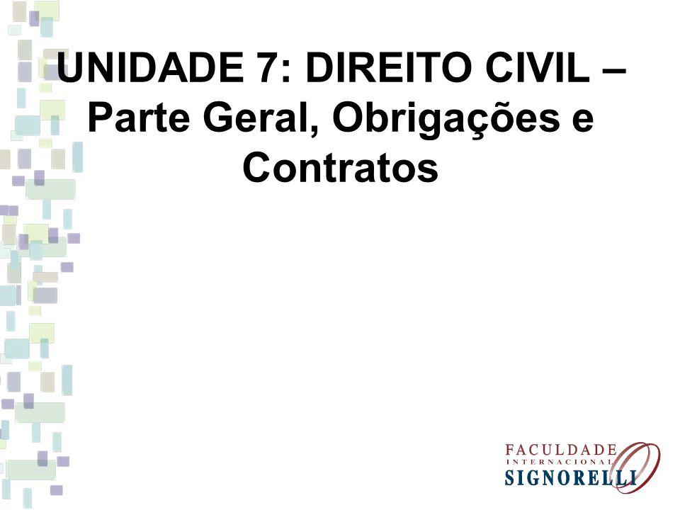 UNIDADE 7: DIREITO CIVIL – Parte Geral, Obrigações e Contratos