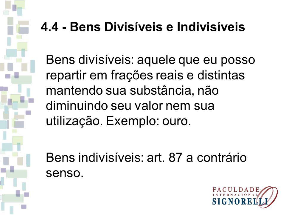 4.4 - Bens Divisíveis e Indivisíveis