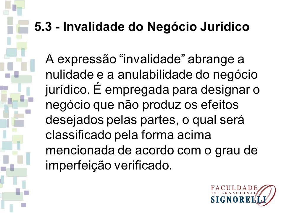 5.3 - Invalidade do Negócio Jurídico