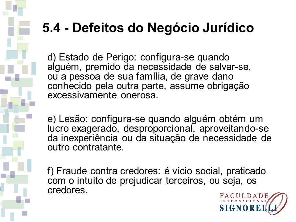 5.4 - Defeitos do Negócio Jurídico