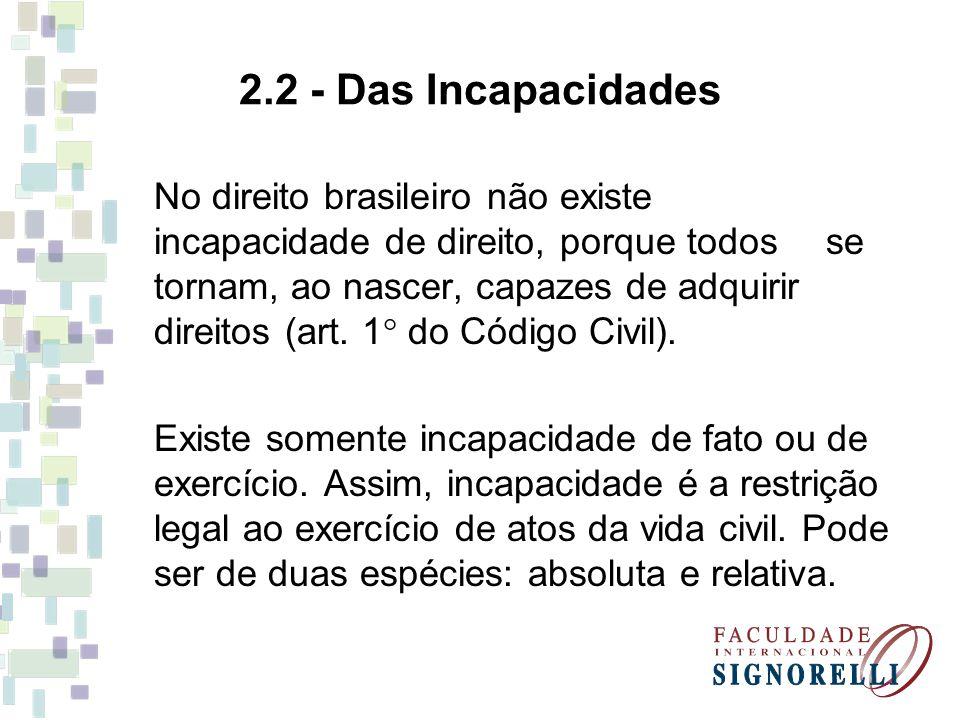 2.2 - Das Incapacidades