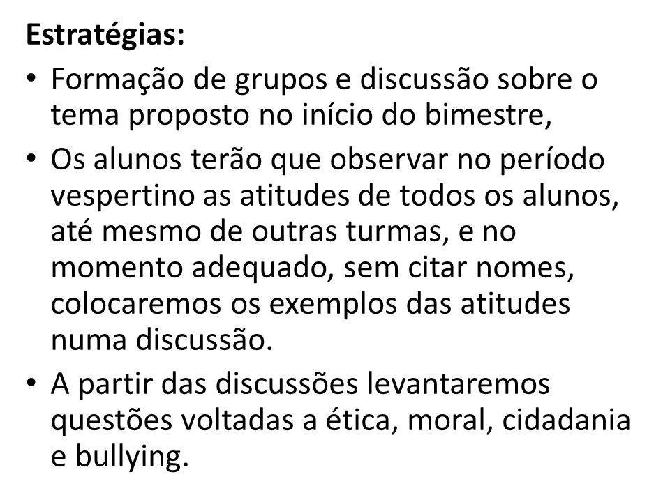Estratégias: Formação de grupos e discussão sobre o tema proposto no início do bimestre,