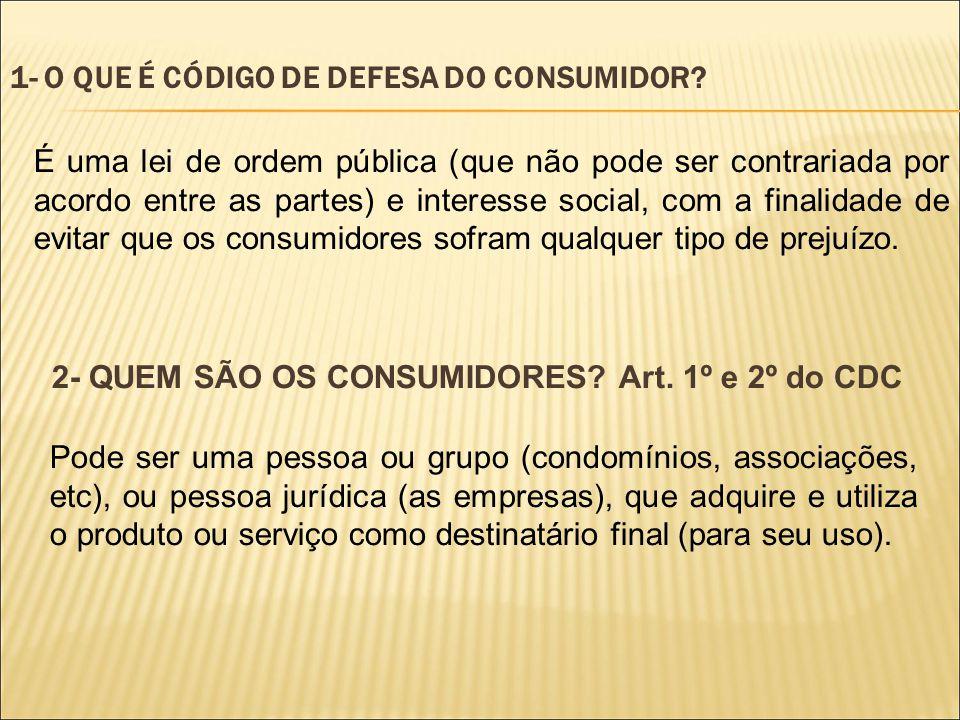 1- O QUE É CÓDIGO DE DEFESA DO CONSUMIDOR