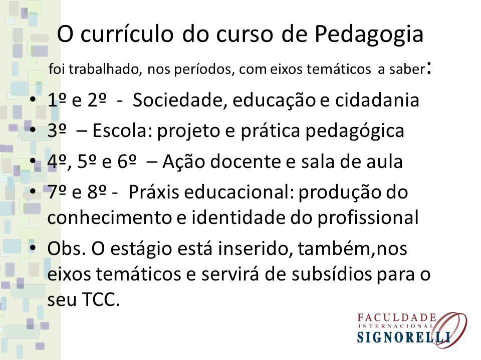 O currículo do curso de Pedagogia foi trabalhado, nos períodos, com eixos temáticos a saber: