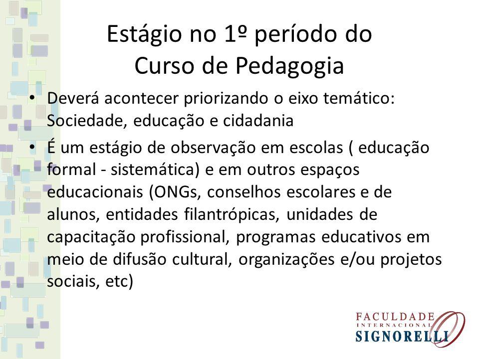 Estágio no 1º período do Curso de Pedagogia